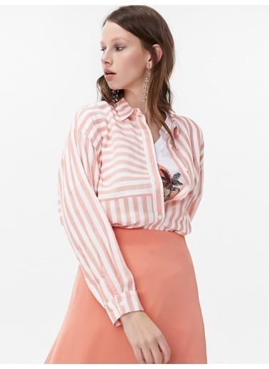 Twist Çizgili Gömlek Oranj